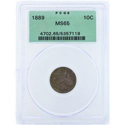 1889 Seated Liberty Dime Coin PCGS MS65
