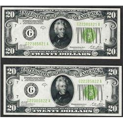 Lot of (2) Consecutive 1928B $20 Federal Reserve Notes Light Green Seal