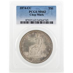 1874-CC $1 Trade Dollar Silver Coin PCGS MS62 Chop Mark