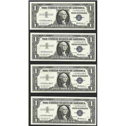 Lot of (4) Consecutive 1957 $1 Silver Certificate STAR Notes Uncirculated
