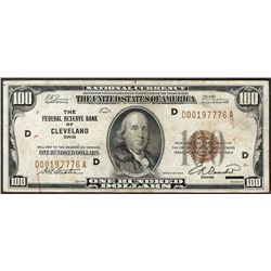1929 $100 Federal Reserve Bank of Cleveland Note