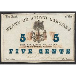 1863 Five Cents State of South Carolina Obsolete Note