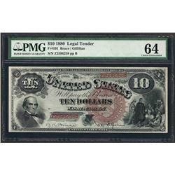 1880 $10 Jackass Legal Tender Note Fr.101 PMG Choice Uncirculated 64