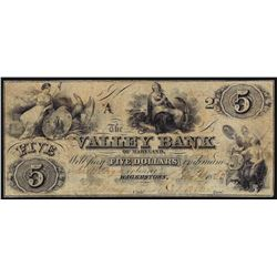 1855 $5 The Valley Bank of Maryland Obsolete Note