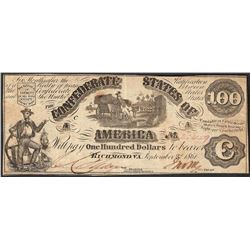1861 $100 Confederate States of America Note