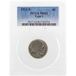 1913-S Buffalo Nickel Coin PCGS MS62 Type 1