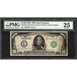 1928 $1,000 Federal Reserve Note San Francisco Fr.2210-L PMG Very Fine 25
