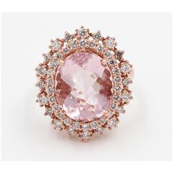 14KT Rose Gold 7.18 ctw Pink Morganite and Diamond Engagement Ring