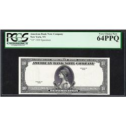 1929 American Bank Note Company Test Note 10 Units PCGS Very Choice New 64PPQ