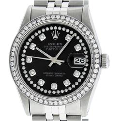 Rolex Mens 36mm Stainless Steel Black String Diamond Datejust Wristwatch