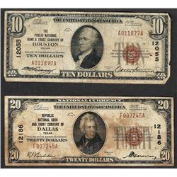 1929 $10 Houston CH#12055 & $20 Dallas CH# 12186 National Currency Notes