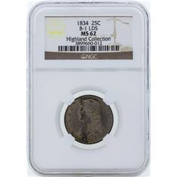 1834 Capped Bust Quarter B-1 LDS Coin NGC MS62