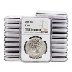 Lot of (20) 1923 $1 Peace Silver Dollar Coin NGC MS64