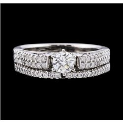 18KT White Gold 0.90 ctw Diamond Wedding Band and Ring