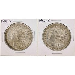 Set of 1881-S to 1882-S $1 Morgan Silver Dollar Coins