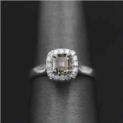 14KT White Gold 0.80 ctw Natural Emerald and Diamond Solitaire Engagement Ring