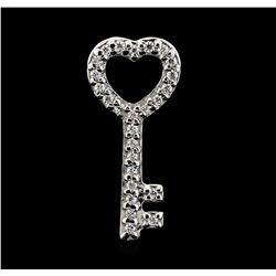 14KT White Gold 0.25 ctw Diamond Key Pendant