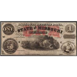 1860's $1 The State of Missouri Defence Bond Obsolete Note