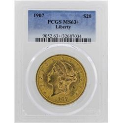 1907 $20 Liberty Head Double Eagle Gold PCGS MS63+
