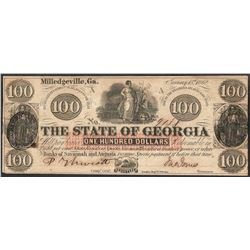1862 $100 The State of Georgia Obsolete Note