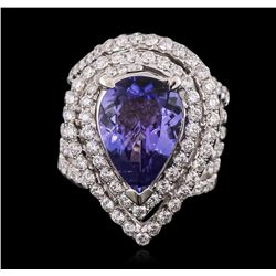 18KT White Gold 6.53 ctw Tanzanite and Diamond Ring