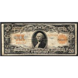 1922 $20 Gold Certificate Note Internal Tear