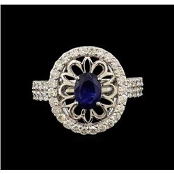 14KT White Gold 1.08 ctw Blue Sapphire and Diamond Ring