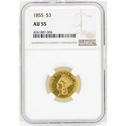 1855 $3 Indian Princess Head Gold Coin NGC AU55