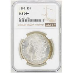 1885 $1 Morgan Silver Dollar Coin NGC MS66+