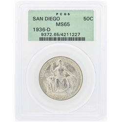 1936-D San Diego Commemorative Half Dollar Coin PCGS MS65