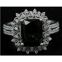 14KT White Gold 3.89 ctw Emerald Cut Green Tourmaline and Diamond Band Ring