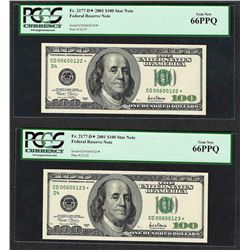 Lot of (2) 2001 $100 Federal Reserve STAR Note PCGS Gem New 66PPQ