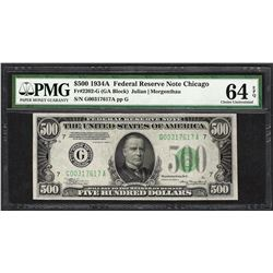 1934A $500 Federal Reserve Note Chicago Fr.2202-G PMG Choice Uncirculated 64EPQ