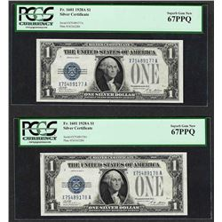 (2) Consecutive 1928A $1 Funnyback Silver Certificate Notes PCGS Superb Gem New