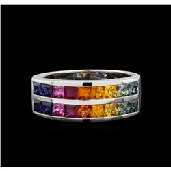 14KT White Gold 2.30 ctw Multi Colored Sapphire Ring