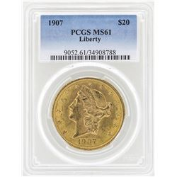 1907 $20 Liberty Head Double Eagle Gold Coin PCGS MS61