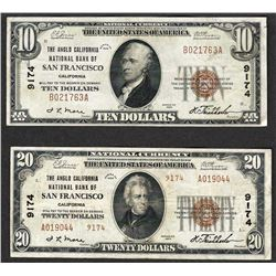 Lot of 1929 $10 & $20 San Francisco California National Currency Notes CH# 9174