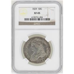 1829 Capped Bust Half Dollar Coin NGC XF45