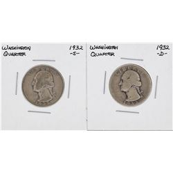 1932-S & 1932-D Washington Silver Quarter Coins