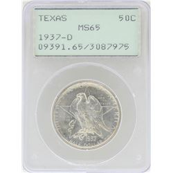 1937-D Texas Commemorative Half Dollar Coin PCGS MS65 Rattler