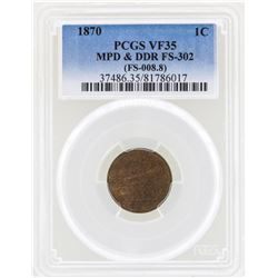 1870 Indian Head Penny Coin PCGS VF35 MPD & DDR FS-302