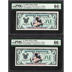 Lot of (2) Consecutive 1989 $1 Disney Dollars Notes PMG Choice Uncirculated 64EP