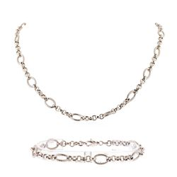 14K White Gold Necklace and Bracelet Set