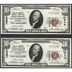 Lot of (2) 1929 $10 Bank of America San Francisco National Currency Note CH# 130