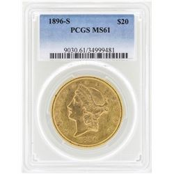 1896-S $20 Liberty Head Double Eagle Gold Coin PCGS MS61