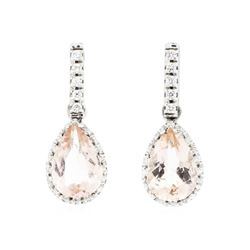 14KT White Gold Ladies 2.90 ctw Morganite and Diamond Earrings