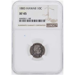 1883 Kingdom of Hawaii Dime Coin NGC XF45