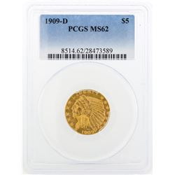 1909-D $5 Indian Head Half Eagle Gold Coin PCGS MS62