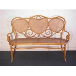 Thonet Furniture, BENTWOOD SETTEE, With Cane Back And Seat (small Patch  Areas), Round And Flat.