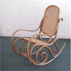 Thonet Furniture, BENTWOOD ROCKER, With Cane Back And Seat, Round Head  Screws And Dowels, Stamp.